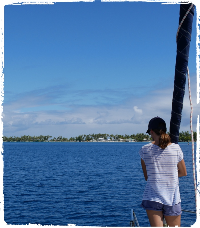 Careful bow watcher is needed to spot the reefs and bummers in the atoll lagoon