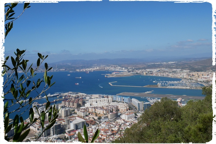 Scenic view from the Rock of Gibraltar to Gibraltar and on the right our marina in La Linea (Spain)