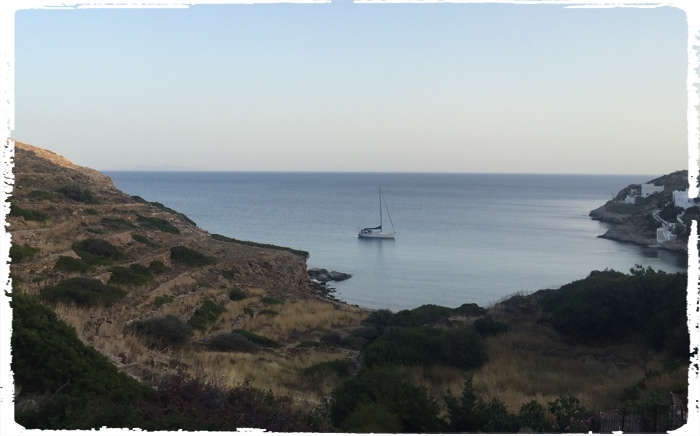Beautiful dry landscapes and anchorages in Cyclades were surprisingly not crowded