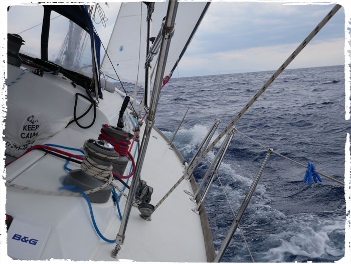 Typical sailing day in Greece, 20 knots of wind and calm see