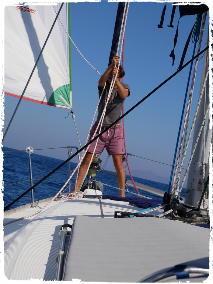 Catching the last breeze with gennaker towards Sardinia